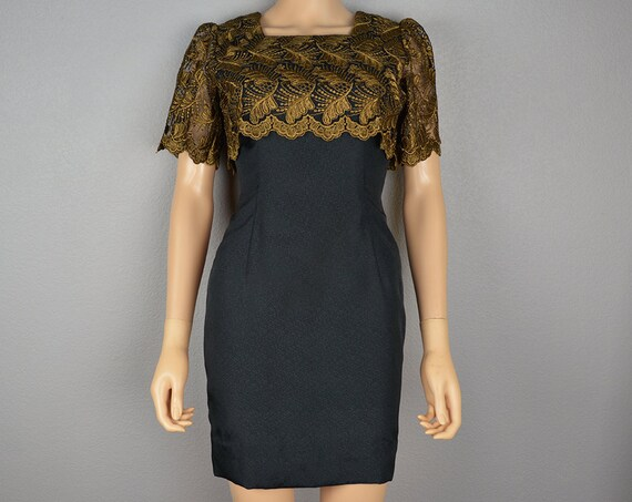 Bronze Lace Cocktail Dress Short Sleeve Mini Dress Short Party Dress Size 4 60s Clothing Epsteam