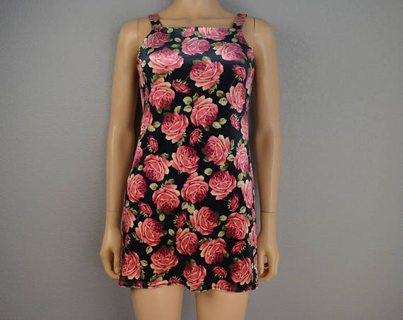 90s Women's Rampage Velvet Mini Dress Floral Rose Print Sleeveless Fitted Square Neck Party Dress 90s Clothing Epsteam
