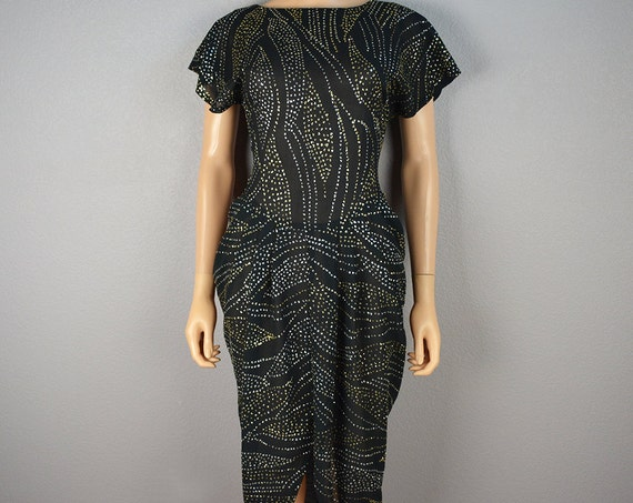 80s Black Party Dress Silver and Gold Glitter Print Ruched Sides With Front Slit Epsteam