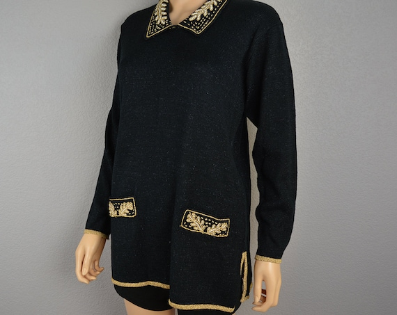 90s Evening Sweater Black and Gold With Pearl Beading Metallic Threads Long Sweater 90s Clothing Epsteam