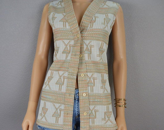 Retro 70s Vest Tan And White Egyptian Inspired Camel Print 70s Clothing 70's Blouse Long Vest Boho Epsteam