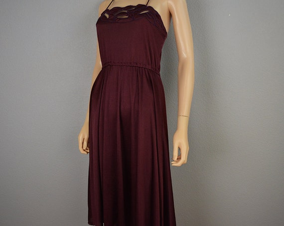 70s Nightgown Sexy Slinky Nightgown Dark Mauve Spaghetti Strap Nightie 70s Negligee 70s Clothing Epsteam