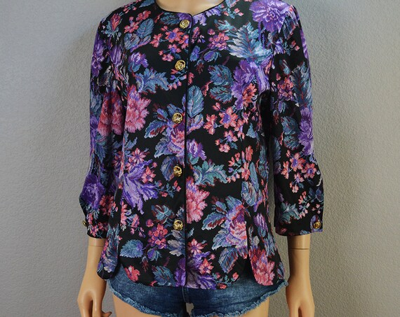 80s Floral Blouse Long Sleeve Button Down Blouse With Gold Buttons 80s Clothing Work Shirt Epsteam