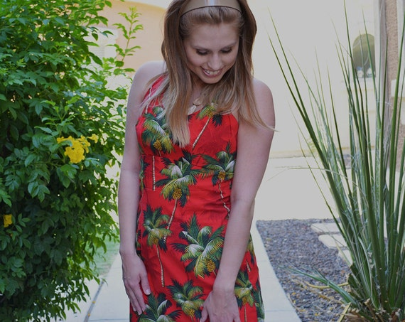 Red Maxi Dress Tropical Palm Tree Print Halter Dress 60s 70s Clothing Epsteam