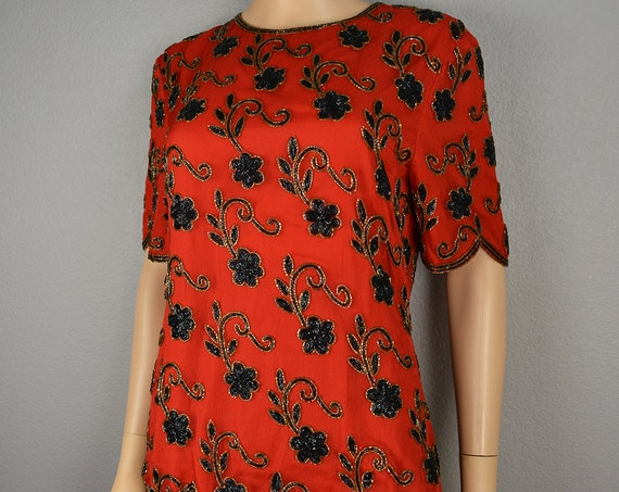 80s Beaded Blouse Red and Black Holiday Blouse Sparkly Party Top Short Sleeve Epsteam