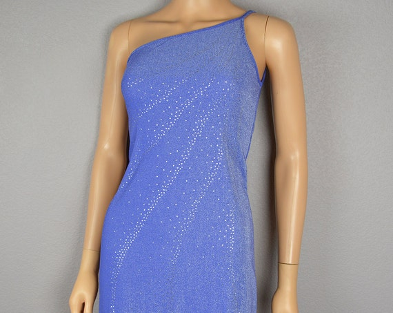 90s One Shoulder Dress Icy Blue With Silver Sparkly Accents Bodycon Party Dress 90s Clothing Epsteam