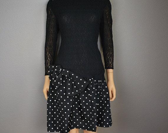 80s Polka Dot Prom Dress Black and White Party Dress Cocktail Dress 80s Dress Drop Waist Epsteam
