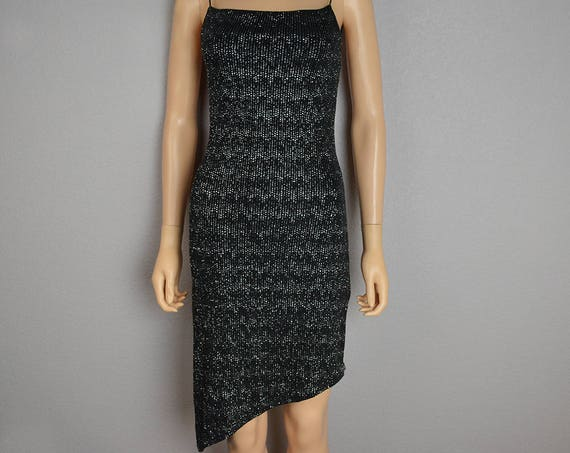 90s Sparkly Bodycon Dress Open Strappy Back Black With Silver Sparkles Square Neck Asymmetrical Bottom Size XS 90s Clothing Epsteam