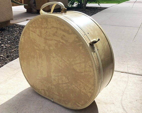 60s Samsonite Streamlite Round Train Case Large Cream Marble Print Weekend Travel Luggage Epsteam