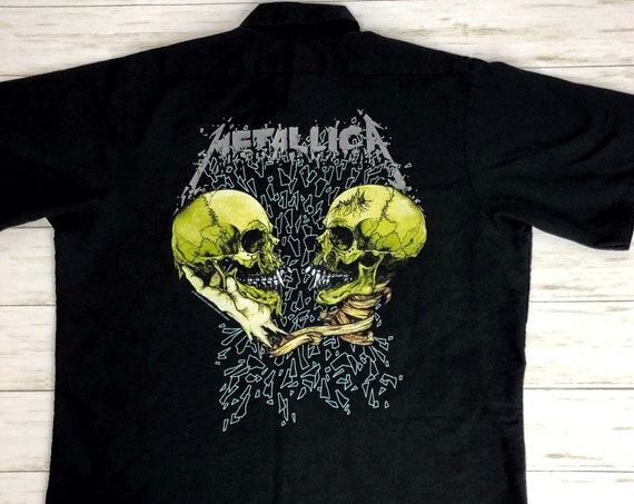 90s Men's Metallica Concert Shirt Button Down Size Large Black Sad But True Pushead Graphic Epsteam
