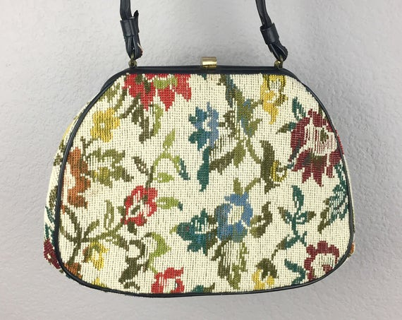 60s Needlepoint Purse Floral Tapestry Design Top Handle Bag Beige With Black Trim and Handle and Bronze Colored Hardware Epsteam