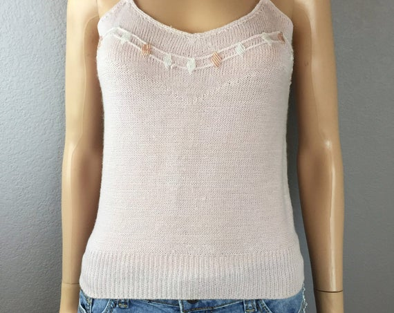 70s Knit Tank Top Baby Pink Camisole Soft Wool and Angora With Beading Spaghetti Strap Tank 70s Clothing Epsteam