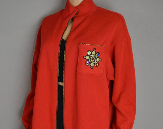 80s Zip Up Jacket With Rhinestone Embellished Pocket Fleece Lined Oversized Jacket Size Medium 80s Clothing Epsteam