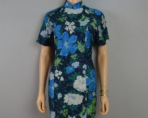 70s Asian Inspired Dress Mandarin Collar Fitted Navy Blue Dress With Floral Print Knee Length Homemade 70s Clothing Epsteam
