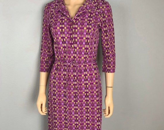 90s Women's Geometric Print Shirt Dress Size Medium Purple Retro Belted Casual Dress 90's Clothing