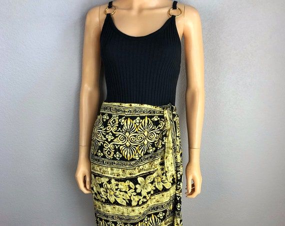 90s Women's Hawaiian Wrap Dress Size 8/10 Black Yellow Floral Print Ribbed Knit Metal O Ring Straps 90s Clothing Epsteam