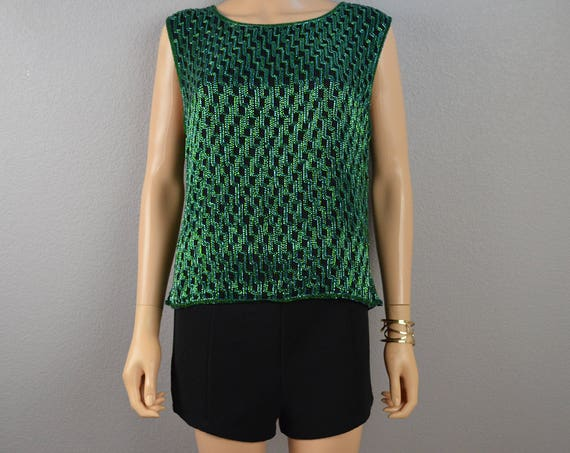 90s Women's Green Beaded Tank Top Size XL New With Tags Silk Holiday Formal Wear Top 90s Clothing Epsteam