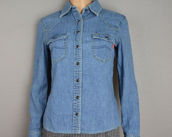 90s Esprit Chambray Shirt Long Sleeve Snap Front Collared Shirt Size 4 Small 90s Clothing Epsteam