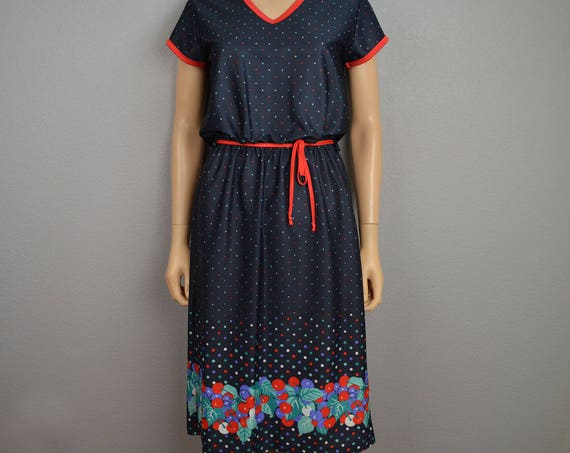 70s Polka Dot Cherry Print Dress Size 11 Short Sleeve Casual Belted Knee Length Casual Dress 70s Clothing Epsteam