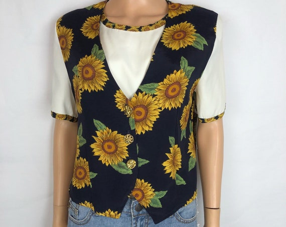 90s Women's Sunflower Print Button Down Blouse Size Medium Short Sleeve Casual 90s Clothing Epsteam