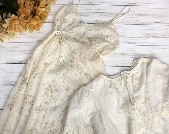 70s Women's Nightgown and Bed Coat Size Medium Floral Print Sleepwear 70s Clothing Epsteam