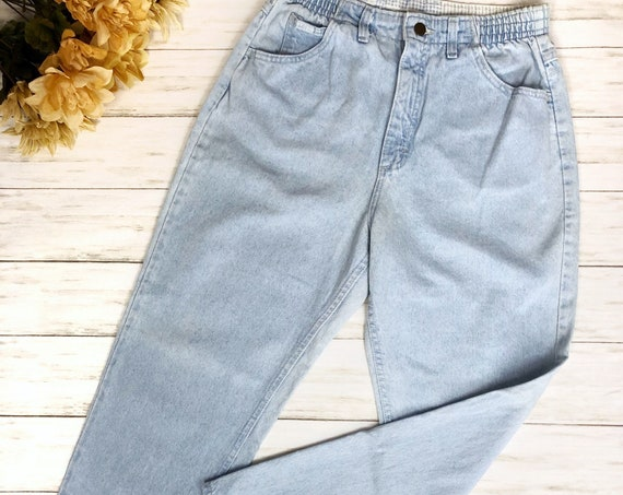 80s Women's Lee Mom Jeans Size 10 Bleached Acid Wash High Waisted Tapered 80's Clothing Epsteam