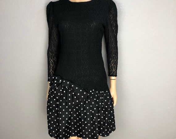 80s Polka Dot Party Dress Black White Size 5/6 Lace Cocktail Dress 80s Puffy Dress Epsteam