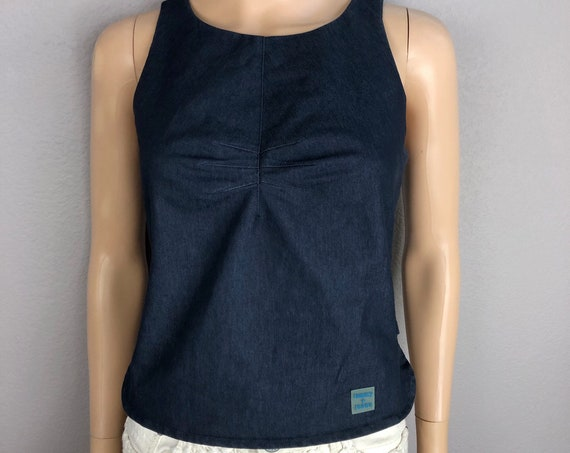 90s Women's Tommy Hilfiger Denim Tank Top Size Medium Dark Blue Casual Pleated Bust Side Slit Tank 90s Clothing Epsteam