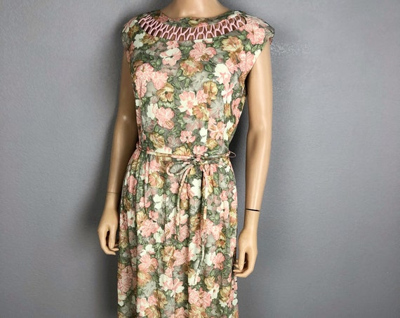 60s Women's Floral Sheath Dress Size Small by Jean Lang Spring Easter Blush Pink Gray Pinup Dress 60s Clothing Epsteam