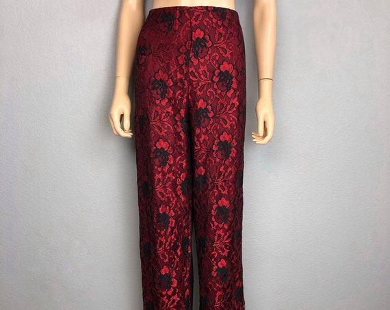 90s Women's Lace Dress Pants Size 12 Black Red High Waisted Wide Leg Trousers 90s Clothing Epsteam