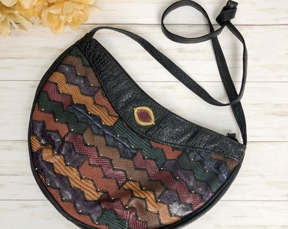 80s Women's Faux Leather Croc Embossed Shoulder Bag Multicolor Patchwork Studded Purse Epsteam