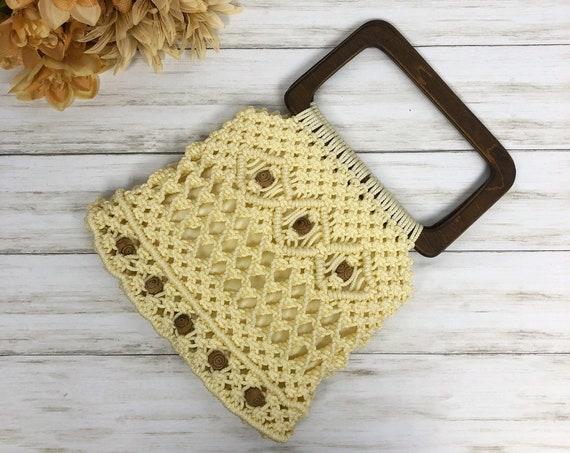 70s Macrame Top Handle Bag Small Beaded Wooden Handle Boho Hippie Beach Bag Epsteam