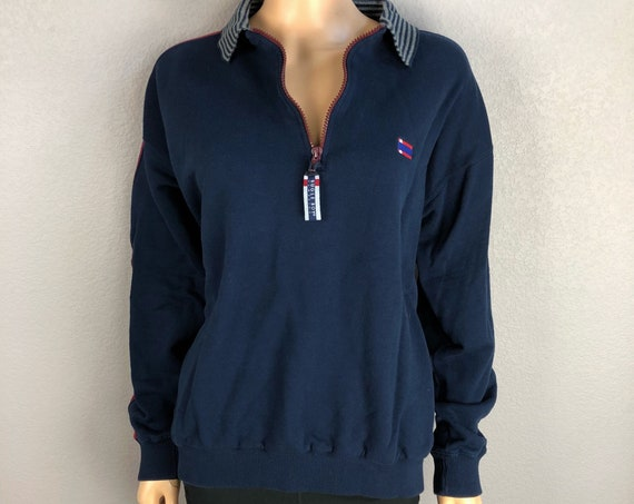 90s Unisex Bugle Boy Classics Sweatshirt Half Zip Pullover Size Medium Navy Blue Maroon Casual Athleasure 90s Clothing Epsteam