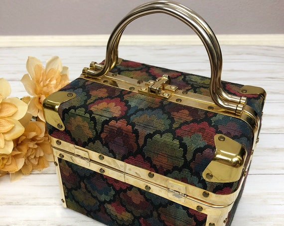 60s Vintage Delill Tapestry Train Case Small Brass Hardware Travel Vanity Case Hard Shell Epsteam