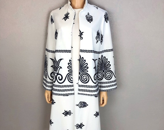 60s Women's Two Piece Set Retro Shift Dress and Matching Jacket Scroll Print White 60s Clothing Epsteam