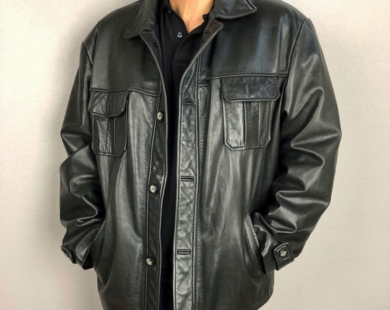 90s Men's Guess Black Leather Jacket Size XL Long Sleeve Casual With Pockets Lined 90s Clothing Epsteam