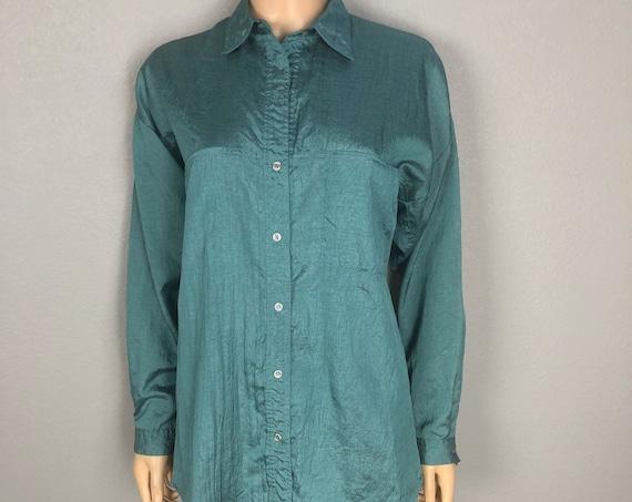 80s Women's Diane Von Furstenberg Crinkle Button Down Shirt Size Medium Oversized Teal Long Sleeve Blouse 80s Clothing Epsteam