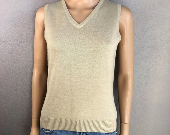 90s Women's Esprit Tan Sweater Vest Size Medium V Neck Knit Tank Top Epsteam