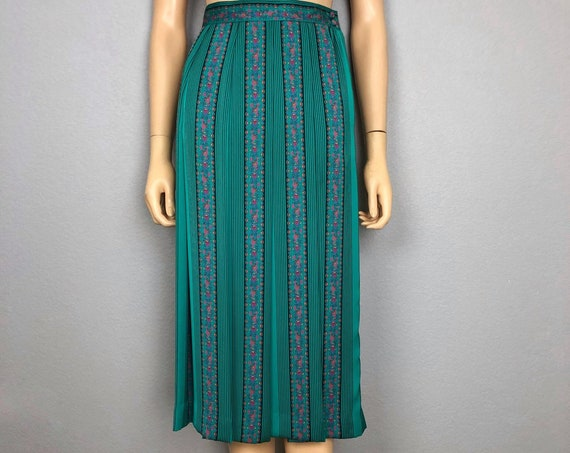 70s Women's Pleated Midi Skirt Small Petite Striped Floral Print High Waisted Skirt 70s Clothing Epsteam