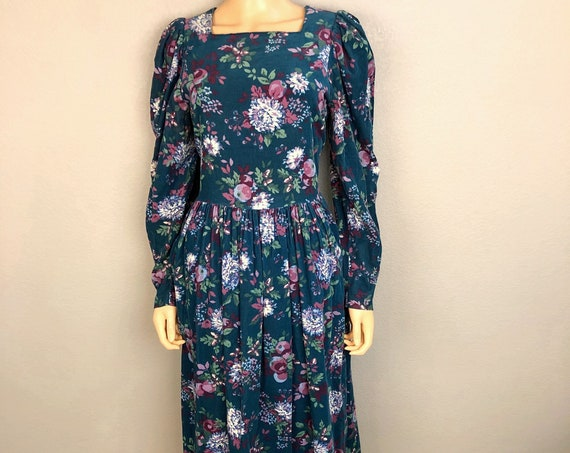 80s Women's Laura Ashley Corduroy Prairie Dress Size Large Teal Long Sleeve Modest Midi Dress
