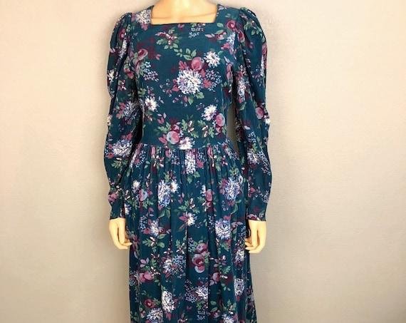 80s Women's Laura Ashley Corduroy Prairie Dress Size Large Teal Long Sleeve Modest Midi Dress