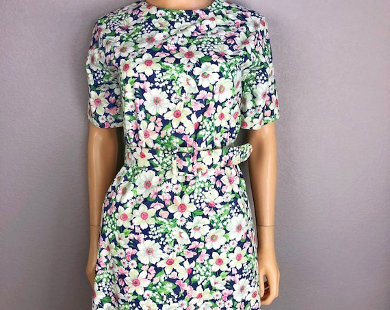 80s Women's Floral Print Shift Dress With Matching Belt Size 4 Navy Blue Short Sleeve Midi Length 80s Clothing
