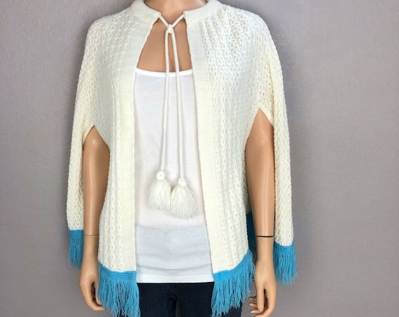 60s Women's Crochet Knit Cape Size Small/Medium Ivory Blue Fringe Poncho Retro Hippie 60's Clothing Epsteam