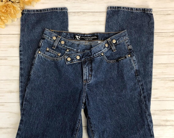 90s Women's Rockies Snap Front Jeans Size 7 Regular Medium Wash Boot Cut Epsteam