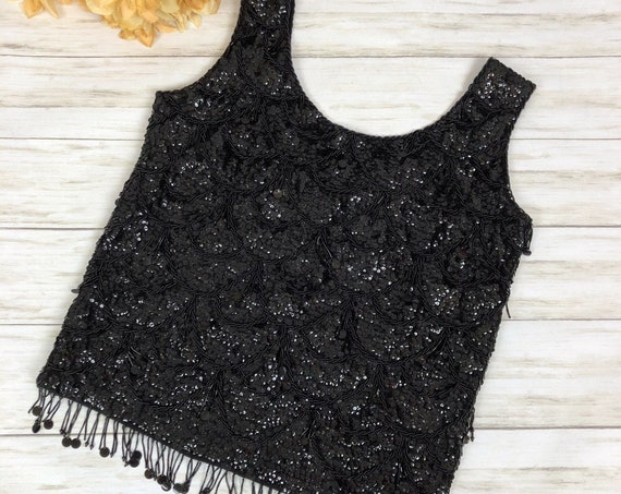 50s Women's Sequin Beaded Knit Tank Top Size Medium Formal Wear Top 50's Clothing Epsteam