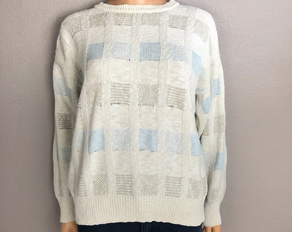 80s Women's Color Block Pullover Sweater Size Medium Cotton Crew Neck Preppy 80's Clothing Epsteam