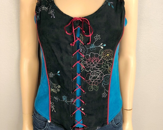 90s Women's Milkmaid Corset Style Tank Top Size Medium Lace Up Floral Embroidery Folk Wear 90's Clothing Epsteam