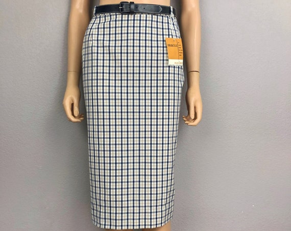 60s Women's Plaid Pencil Skirt Size 4 Pinup Below the Knee Wiggle Skirt 60s Clothing Epsteam
