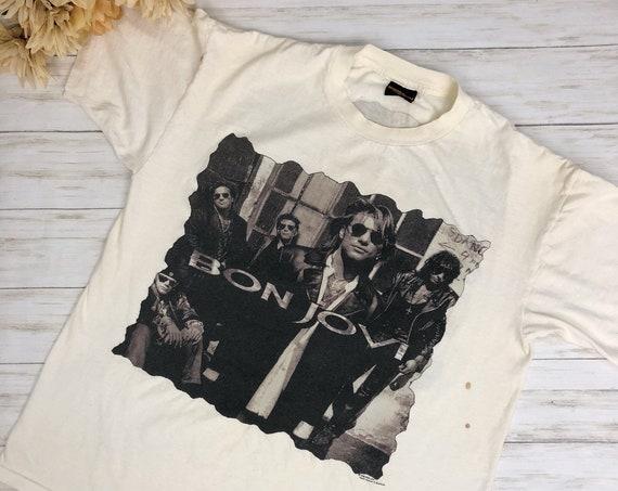 1992 Unisex Bon Jovi Keep The Faith Band Tee Size XL Short Sleeve Graphic Tshirt Epsteam