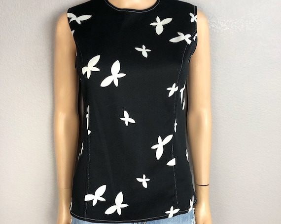 70s Women's Polyester Butterfly Print Tank Top Size Medium Black White Retro 70s Clothing Epsteam